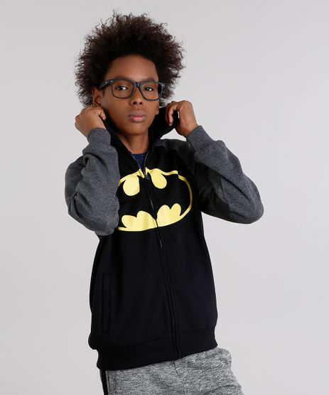 Blusao-Infantil-Batman-em-Moletom-com-Capuz-de-Algodao---Sustentavel-Preto-8853296-Preto_1
