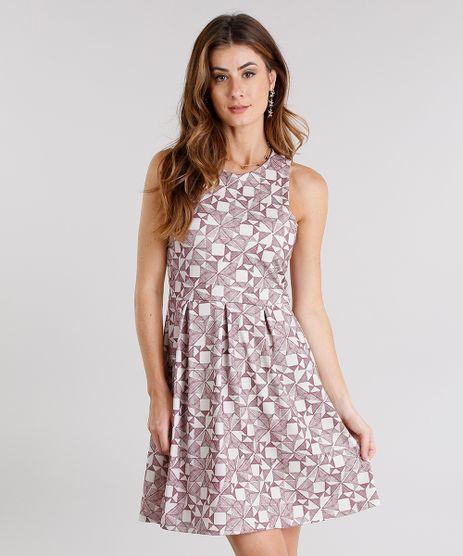 Vestido-Feminino-Curto-Estampado-Sem-Manga-Decote-Redondo-Bege-9114183-Bege_1