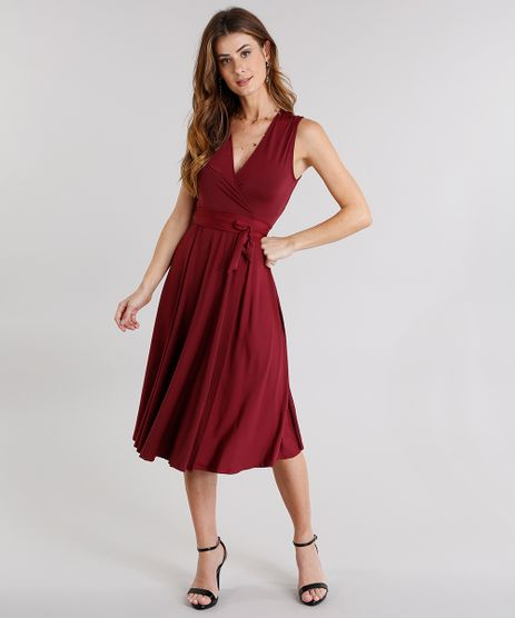 Vestido-Feminino-Envelope-com-Decote-V-Transpassado-com-Amarracao-Vinho-9127709-Vinho_1