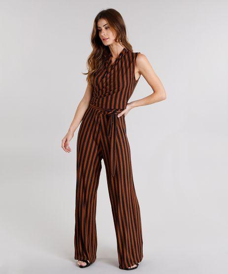Macacao-Feminino-Pantalona-Estampado-com-Decote-V-Transpassado-Caramelo-9114180-Caramelo_1