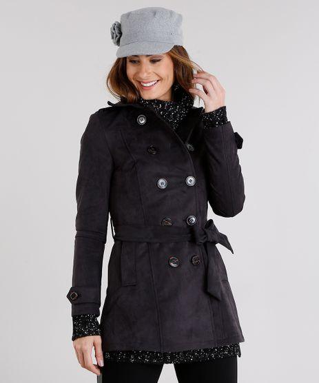 Casaco-Feminino-Trench-Coat-em-Suede-com-Faixa-Chumbo-8888640-Chumbo_1