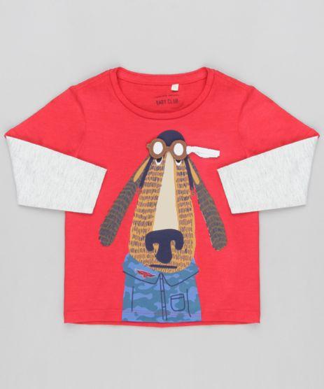 Camiseta-Infantil-com-Estampa-Interativa-Cachorro-com-Oculos-Manga-Longa-Gola-Careca-Vermelha-9139958-Vermelho_1