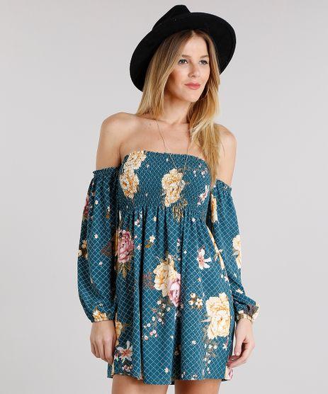 Vestido-Feminino-Ciganinha-Estampado-Floral-Curto-Manga-Longa-Verde-8899166-Verde_1