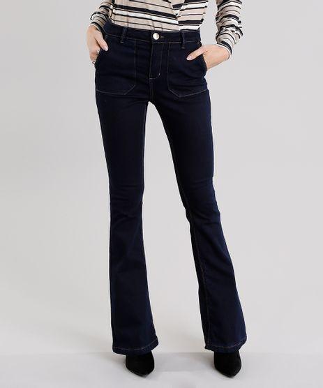Calca-Jeans-Feminina-Flare-com-Bolsos-Azul-Escuro-9031172-Azul_Escuro_1