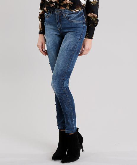 Calca-Jeans-Feminina-Super-Skinny-com-Tachas-Cintura-Alta-Azul-Escuro-9191320-Azul_Escuro_1