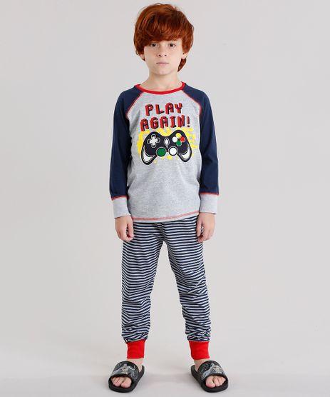 Pijama-infantil-Raglan--Play-Again---com-Estampa-Listrada-Manga-Longa-Cinza-Mescla-9133147-Cinza_Mescla_1