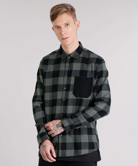 Camisa-Masculina-Xadrez-em-Flanela-com-Bolso-Manga-Longa-Verde-Militar-8623400-Verde_Militar_1