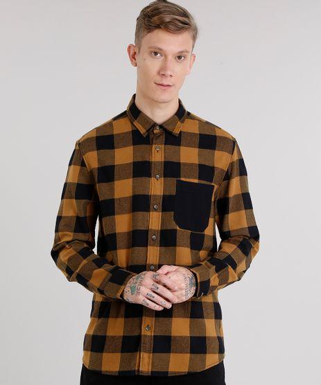 Camisa-Masculina-Xadrez-em-Flanela-com-Bolso-Manga-Longa-Caramelo-8623400-Caramelo_1