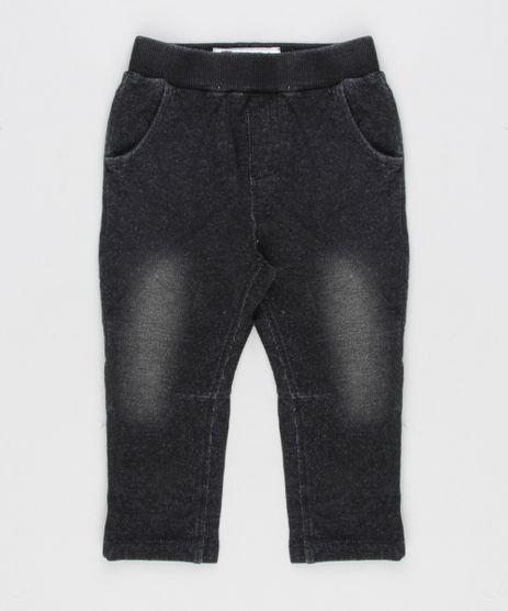 Calca-Jeans-Infantil-em-Moletom-com-Bolsos-em-Algodao---Sustentavel-Preta-8959228-Preto_1