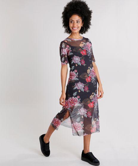 Vestido-Feminino-Midi-Estampado-Floral-em-Tule-com-Fendas-Preto-9132098-Preto_1