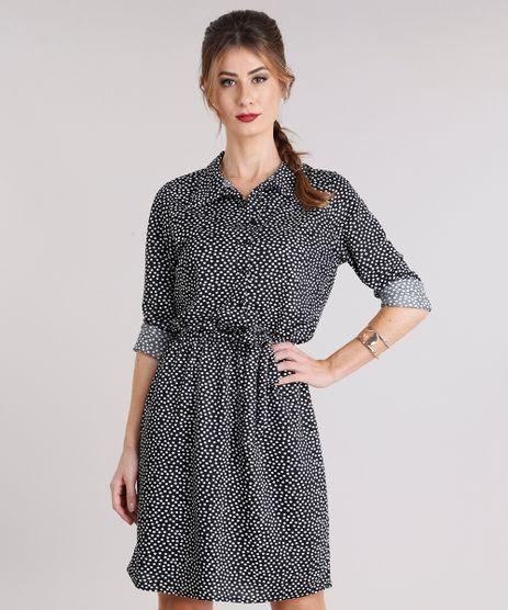 Vestido-Feminino-Chemise-Estampado-de-Poa-Manga-Longa-Preto-9142733-Preto_1