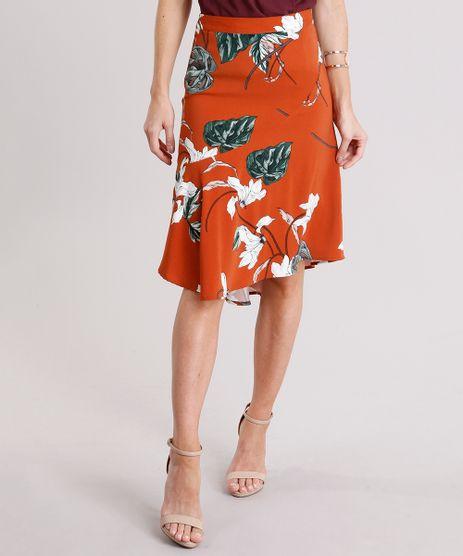 Saia-Feminina-Evase-Mullet-Estampada-Floral-Cintura-Alta-Laranja-Escuro-8892755-Laranja_Escuro_1