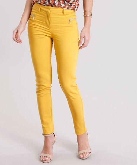 Calca-Feminina-Cigarrete-com-Ziper-no-Bolso-Amarelo-Escuro-8892752-Amarelo_Escuro_1