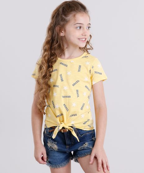Blusa-Infantil-Brasil-Estampada-de-Estrelas-com-No-Manga-Curta-Decote-Redondo-em-Algodao---Sustentavel-Amarela-9169157-Amarelo_1