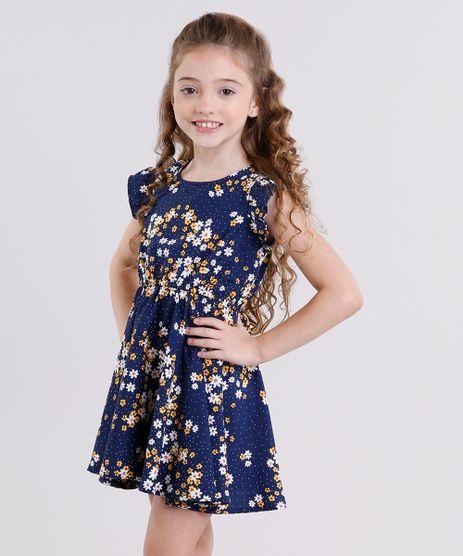 Vestido-Infantil-Estampado-Floral-com-Babado-Sem-Manga-Azul-Marinho-9013583-Azul_Marinho_1
