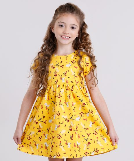 Vestido-Infantil-Estampado-Floral-em-Jacquard-Manga-Curta-Amarelo-8911820-Amarelo_1