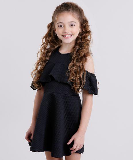 Vestido-Infantil-Open-Shoulder-Matelasse-com-Babado-Manga-Curta-Preto-9140689-Preto_1