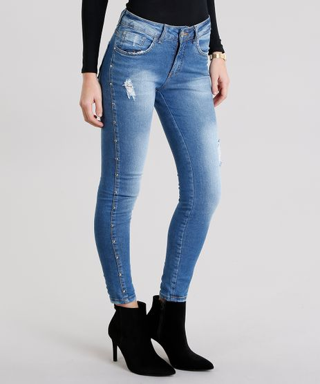 Calca-Jeans-Feminina-Cigarrete-com-Tachas-e-Puidos-Azul-Medio-9151853-Azul_Medio_1