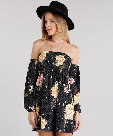 Vestido-Feminino-Ciganinha-Estampado-Floral-Curto-Manga-Longa-Preto-8899166-Preto_1