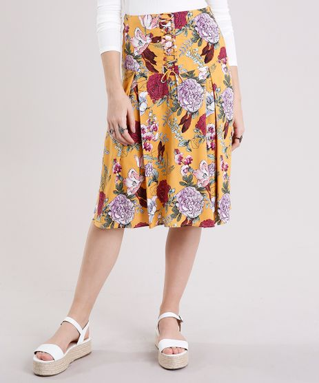 Saia-Midi-Feminina-Estampada-Floral-com-Lace-UP-Amarela-8898672-Amarelo_1
