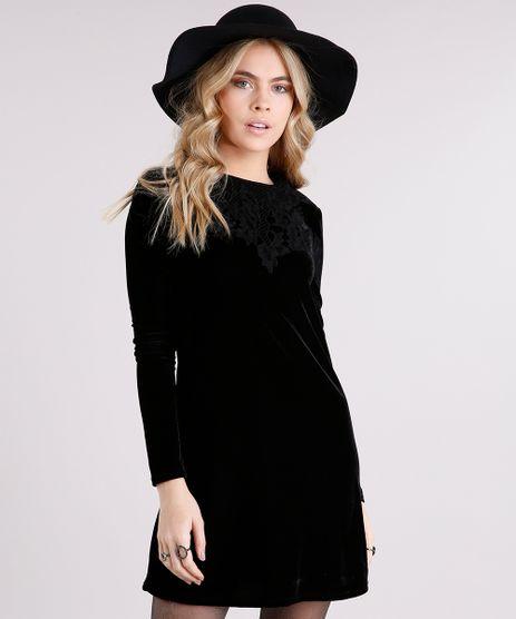 Vestido-Feminino-em-Veludo-com-Guipir-Manga-Longa-Curto-Preto-8891762-Preto_1