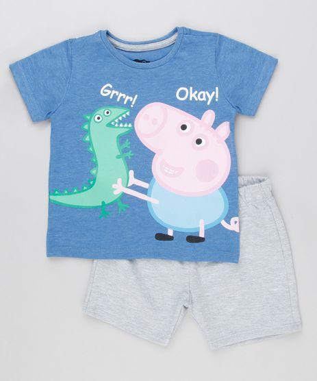 Conjunto-de-Camiseta-George-e-Dinossauro-Manga-Curta-Azul---Bermuda-em-Moletom-Cinza-Mescla-9154868-Cinza_Mescla_1
