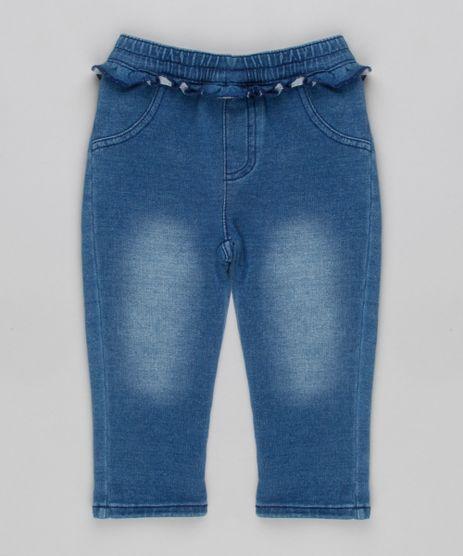 Calca-Jeans-Infantil-em-Moletom-com-Babados-em-Algodao---Sustentavel-Azul-8935390-Azul_1