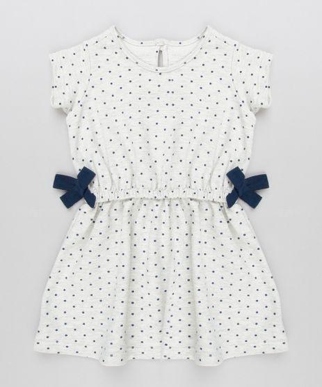 Vestido-Infantil-Estampado-de-Poa-com-Lacos-em-Moletom-Manga-Curta-Decote-Redondo-Cinza-Mescla-Claro-9140863-Cinza_Mescla_Claro_1