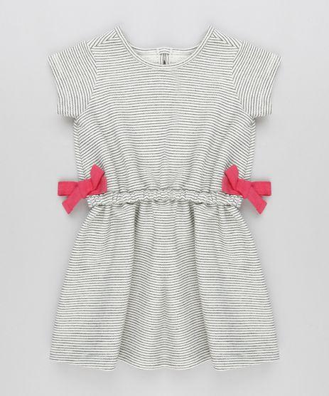 Vestido-Infantil-Listrado-com-Lacos-em-Moletom-Manga-Curta-Decote-Redondo-Cinza-Mescla-Claro-9140865-Cinza_Mescla_Claro_1