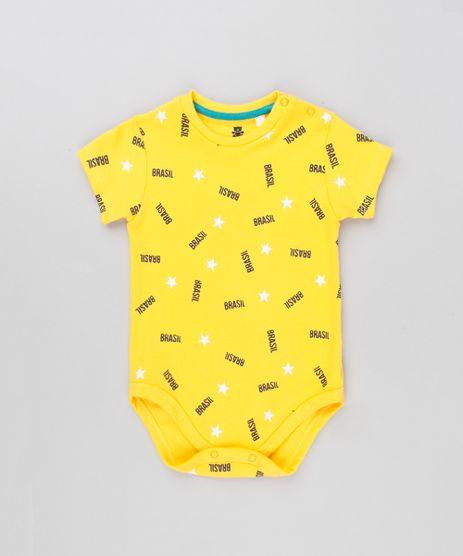 Body-Infantil-Brasil-Estampado-de-Estrelas-Manga-Curta-Decote-Redondo-Amarelo-9154232-Amarelo_1
