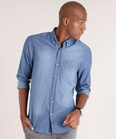 Camisa-Jeans-Masculina-Comfort-Listrada-Manga-Longa-Azul-Medio-9109739-Azul_Medio_1
