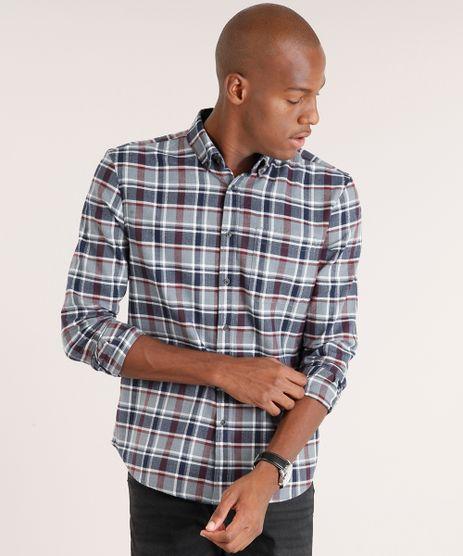 Camisa-Masculina-Comfort-Xadrez-em-Flanela-Manga-Longa-Cinza-8860653-Cinza_1