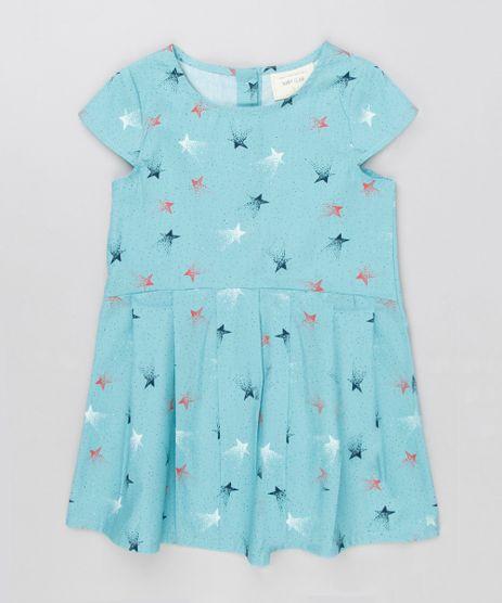 Vestido-Infantil-Estampado-de-Estrelas-Com-Pregas-Manga-Curta-Decote-Redondo-Azul-Claro-8877289-Azul_Claro_1