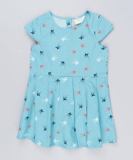 Vestido-Infantil-Estampado-de-Estrelas-Com-Pregas-Manga-Curta-Decote-Redondo---Meia-Calca-Azul-Claro-8877283-Azul_Claro_1