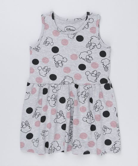 Vestido-Infantil-Minnie-Estampado-Sem-Manga-Curto-Decote-Redondo-Cinza-Mescla-9169076-Cinza_Mescla_1