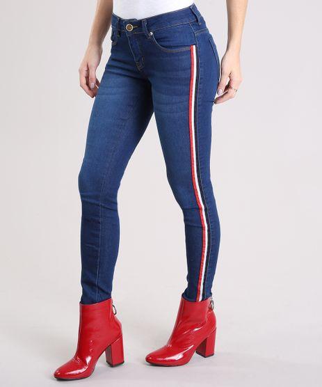 Calca-Jeans-Feminina-Super-Skinny-com-Faixas-Laterais-Azul-Escuro-9201322-Azul_Escuro_1