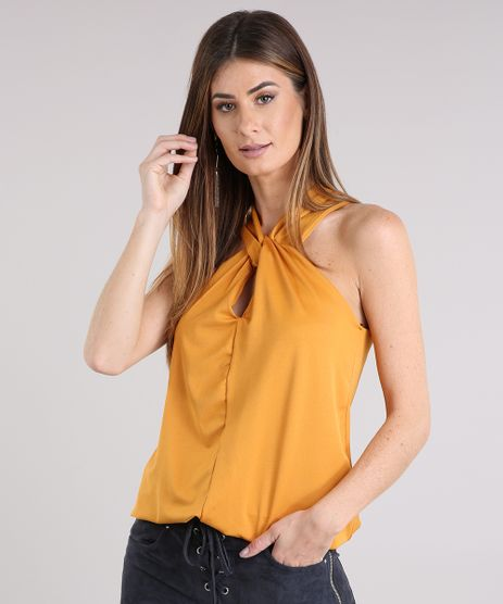 Regata-Feminina-com-Decote-Transpassada-Amarelo-Escuro-9150212-Amarelo_Escuro_1