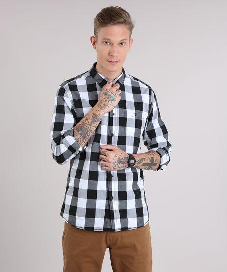 Camisa-Masculina-Xadrez-com-Bolso-Manga-Longa-Branca-8448777-Branco_1