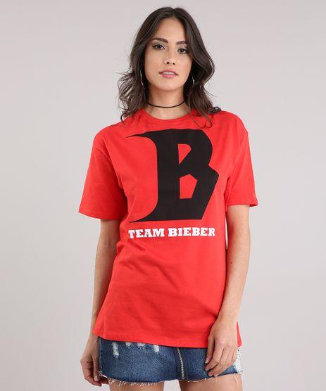 Blusa-Feminina--Team-Bieber--Manga-Curta-Decote-Redondo-em-Algodao---Sustentavel-Vermelha-9129704-Vermelho_1