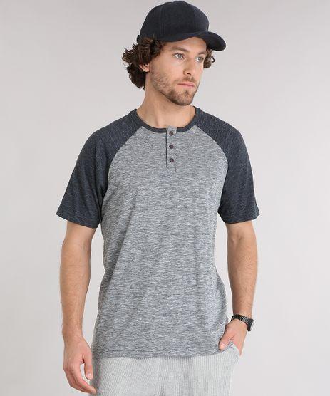 Camiseta-Masculina-Raglan-Gola-Careca-com-Botoes-Cinza-Mescla-9101270-Cinza_Mescla_1