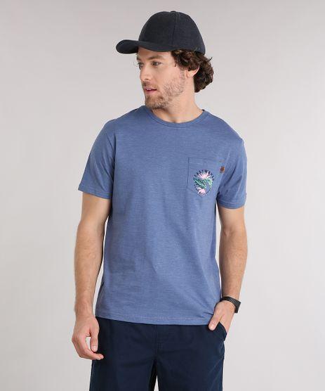 Camiseta-Masculina-com-Estampa-Floral-e-Bolso-Manga-Curta-Gola-Redonda-Azul-9125863-Azul_1