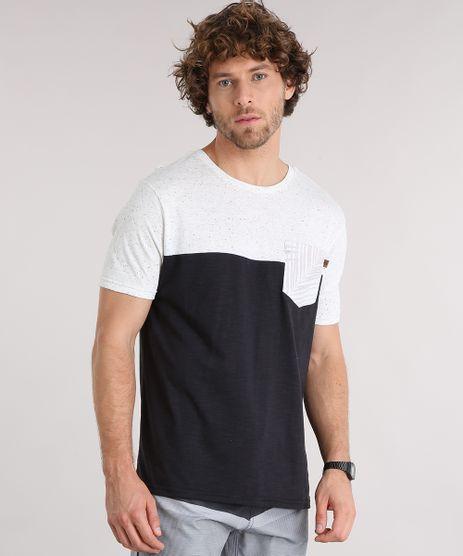 Camiseta-Masculina-Manga-Curta-Gola-Careca-com-Bolso-Estampado-de-Folhagem-Preta-9125862-Preto_1