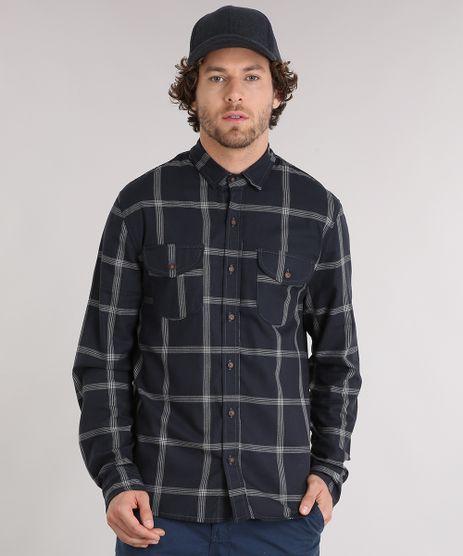 Camisa-Masculina-Xadrez-Manga-Longa-com-Bolsos--Chumbo-9117427-Chumbo_1