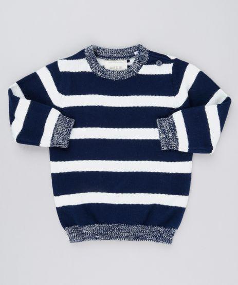 Sueter-Infantil-Listrado-em-Trico-Gola-Redonda-Manga-Longa-Azul-Marinho-8871182-Azul_Marinho_1