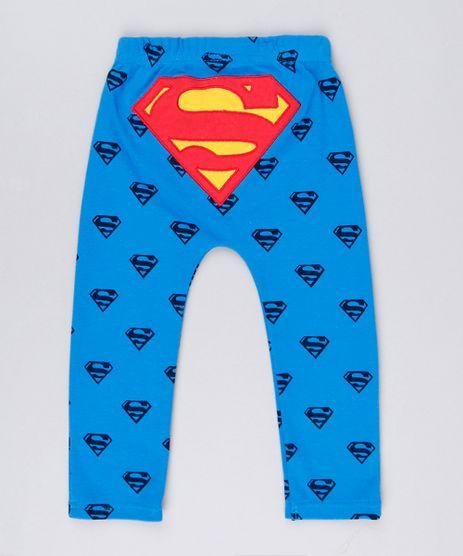Calca-Infantil-Super-Homem-Estampada-em-Algodao---Sustentavel-Azul-8928760-Azul_1