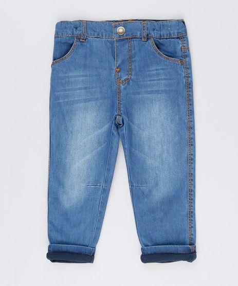 Calca-Jeans-Infantil-com-Forro-em-Malha--Azul-Medio-8865950-Azul_Medio_1