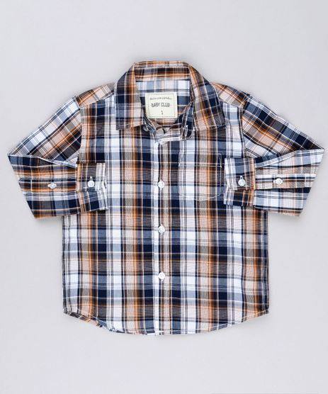 Camisa-Infantil-Xadrez-Manga-Longa-com-Bolso-Caramelo-8854758-Caramelo_1