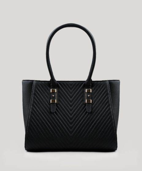Bolsa-Feminina-Shoulder-com-Textura-Preta-8403429-Preto_1