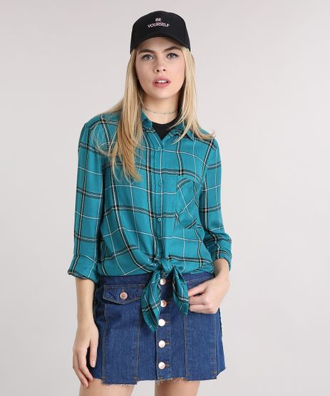 Camisa-Feminina-Longa-Xadrez-Manga-Longa-Verde-8908158-Verde_1