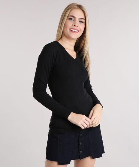Sueter-Feminino-Basico-em-Trico-Manga-Longa-Decote-V-Preto-8839960-Preto_1